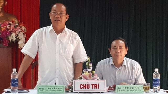 Đồng chí Lều Vũ Điều, Phó Chủ tịch thường trực Trung ương HND Việt Nam và đồng chí Đinh Văn Thu, Chủ tịch UBND tỉnh Quảng Nam chủ trì buổi làm việc